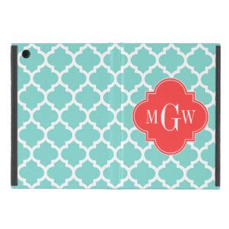 Aqua Moroccan #5 Coral Red 3 Initial Monogram Cover For iPad Mini