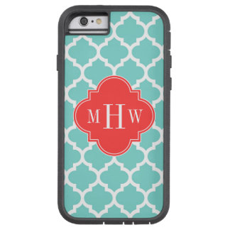 Aqua Moroccan #5 Coral Red 3 Initial Monogram Tough Xtreme iPhone 6 Case