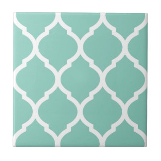 Aqua Moroccan Quatrefoil Patterned Ceramic Tile