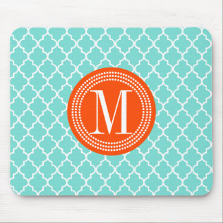 Aqua Moroccan Tiles Lattice Personalized Mouse Pad