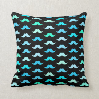 Aqua Mustaches Black Cushion