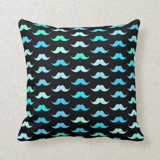 Aqua Mustaches Black Throw Pillow