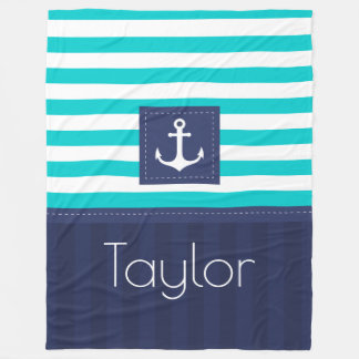 Aqua Navy Blue Nautical Stripes Anchor Design Fleece Blanket