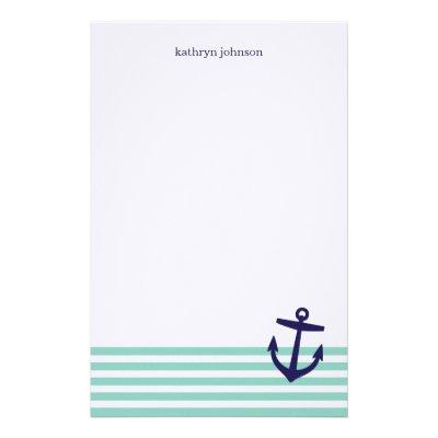 Custom navy blue nautical anchor stationery paper   Zazzle.co.uk