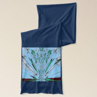 Aqua Navy Blue summer style pattern design art American Apparel Sheer Scarf
