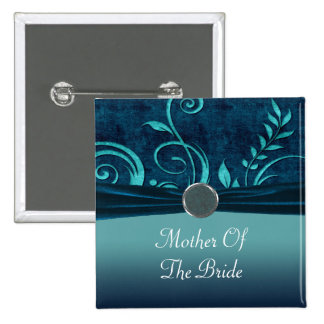 Aqua & Navy Blue Velvet Wedding Swirl Pin