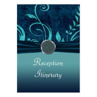 Aqua & Navy Blue Velvet Wedding Swirl Business Card