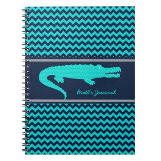 Aqua Navy Gator on Chevron Personalized Notebook Notebook