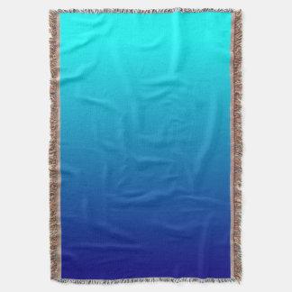 Aqua Navy Ombre Background Throw Blanket