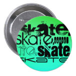 Aqua, Neon Green Gradient; Skate 7.5 Cm Round Badge