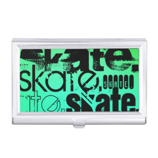Aqua, Neon Green Gradient; Skate Case For Business Cards