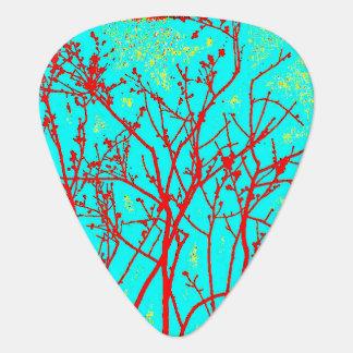 Aqua Neon Twigs Botany Photo Design Guitar Pick Pick