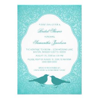 Aqua Nouveau Floral Frame Bridal Shower Invite