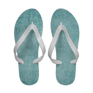 Aqua Nubby Chenille Fabric Texture Flip-Flops