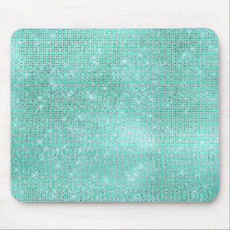 Aqua Ocean Blue Aquamarine Diamond Shiny Glam Mouse Pad