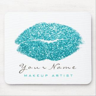 Aqua Ocean White Glitter Name Makeup Lips Kiss Mouse Mat