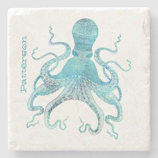 Aqua Octopus Personalized Stone Coaster