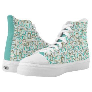 Aqua & Olive Zipz High Tops Printed Shoes