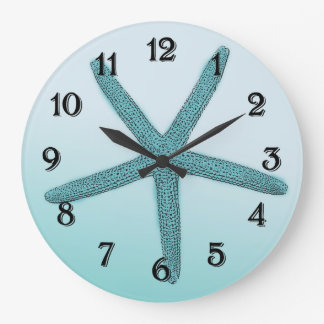 Aqua Ombre Starfish Large Clock
