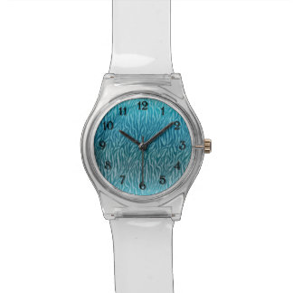 Aqua Ombre Zebra Print Watches