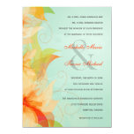 Aqua Orange Floral Formal Wedding Invitations