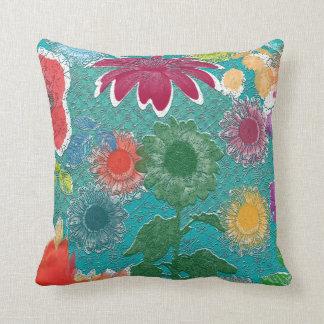 Aqua orange green yellow Flower Purple pillow