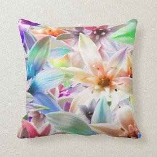 Aqua orange green yellow Flower 🌺 Purple pillow