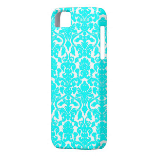 Aqua Ornate Floral Damask Pattern iPhone 5 Covers