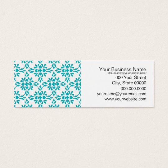 Aqua over White Damask Style Pattern Mini Business Card