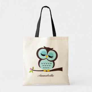 Aqua Owl Canvas Bag