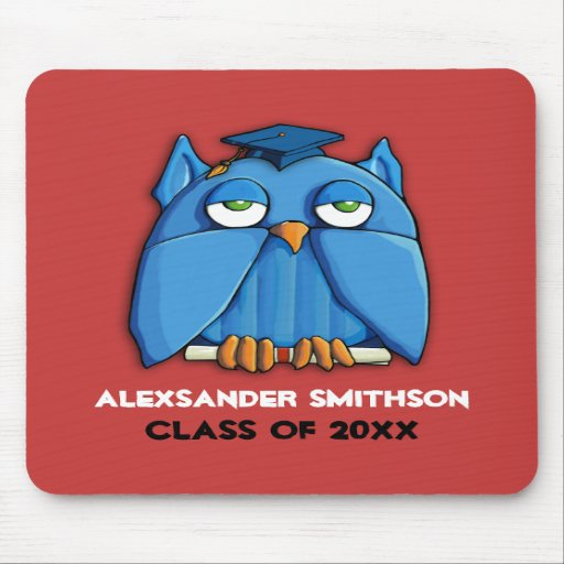 Aqua Owl Grad red Mousepad