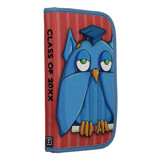 Aqua Owl Grad red stripes Folio Planner Organizer