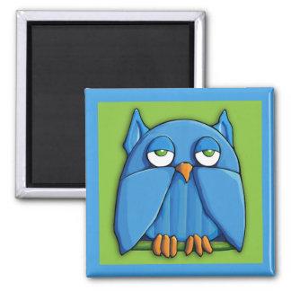 Aqua Owl green aqua Square Magnet