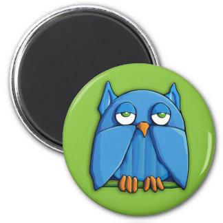 Aqua Owl green Round Magnet