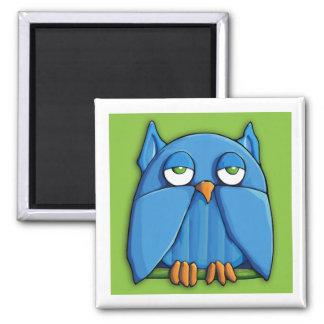 Aqua Owl green Square Magnet