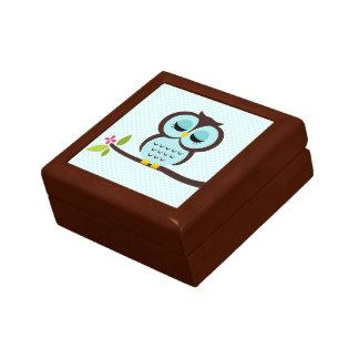 Aqua Owl Illustration Small Square Gift Box