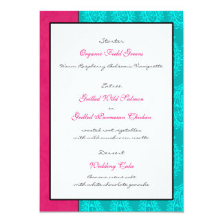 Aqua Paisley Peacocks Wedding Reception Menu Card 13 Cm X 18 Cm Invitation Card