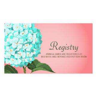 Aqua & Peach Hydrangea Wedding Registry Card Pack Of Standard Business Cards
