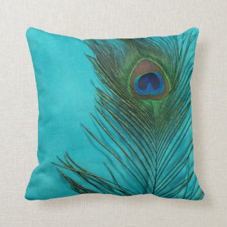 Aqua Peacock Feather Still Life Cushion