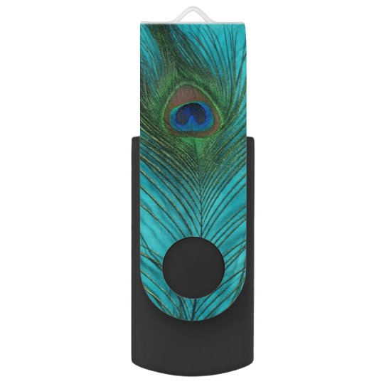 Aqua Peacock Feather USB Flash Drive