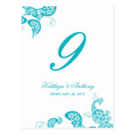 Aqua Peacock Floral Paisley Wedding Table Number Postcard