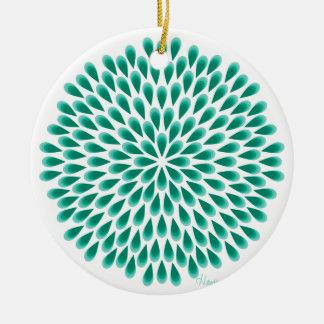 Aqua Peacock Mandala Round Ceramic Decoration