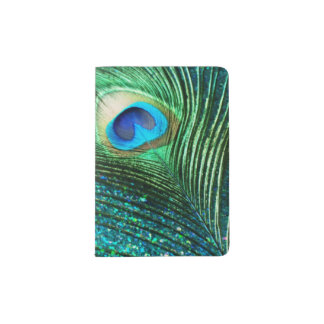 Aqua Peacock Passport Holder