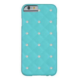 Aqua Pearl Stud Quilted Barely There iPhone 6 Case
