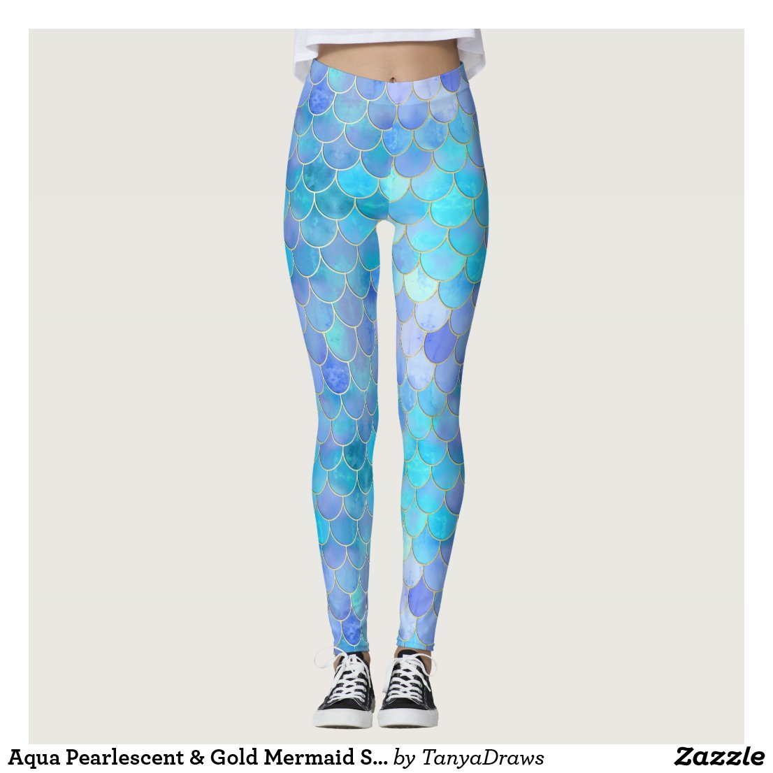 Aqua Pearlescent & Gold Mermaid Scale Pattern Leggings