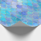 Aqua Pearlescent & Gold Mermaid Scale Pattern Wrapping Paper