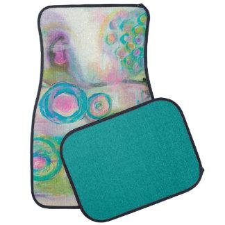 Aqua Pink, Abstract Circles Swirls Landscape Art Car Mat