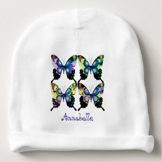 Aqua, Pink, and Yellow -  Elegant Butterflies Baby Beanie