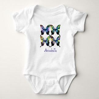 """""""Aqua, Pink, and Yellow - Elegant Butterflies"""" Baby Bodysuit"""