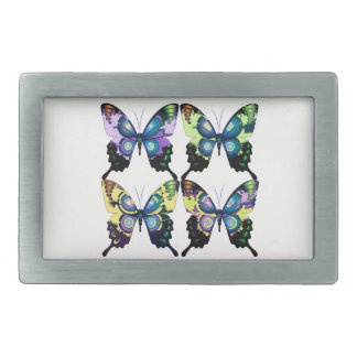 Aqua, Pink, and Yellow -  Elegant Butterflies Belt Buckles